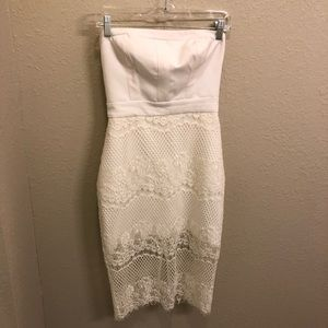 Bebe White Strapless Dress